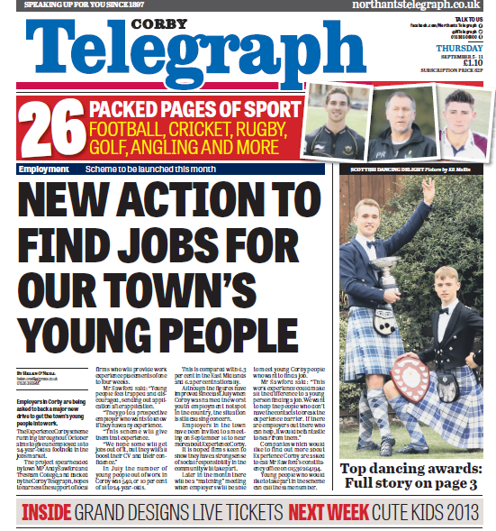 Corby Telegraoh front page - 4 Sept 2013